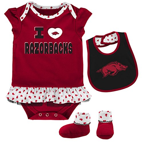 NCAA Arkansas Razorbacks Newborn & Infant Team Love Bib & Booties Set, Victory Red, 3-6 Months by NCAA by Outerstuff