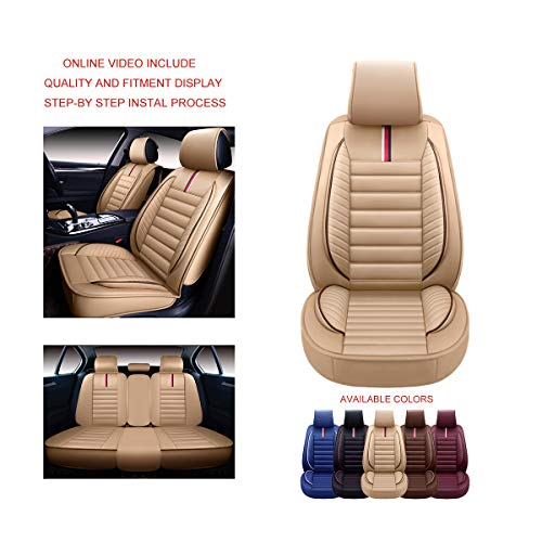 OASIS AUTO OS-001 Leather Universal Car Seat Covers Automotive Vehicle Cushion for...