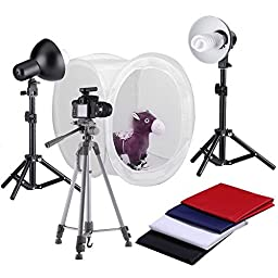 Neewer Round Photography Studio Tent Lighting Kit, 1* Round Light Folding Tent + 4*Colored Backgrounds + 2*18\