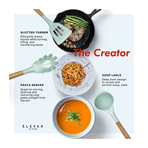 Kitchen Utensil Set - 9 Cooking Utensils. Kitchen Gadgets for Nonstick Cookware Set. Kitchen Accessories, Silicone Spatula set, Serving Utensils. Best Silicone Kitchen Utensils Tools Gifts - ÉLEVER 2 ✅ AS SEEN ON BUZZFEED - CURATED COOKING UTENSILS - Inspired by Marie Kondo's motto of cherished necessities, we curated a luxury series of 9 most popular and versatile kitchen gadgets among professional chefs and home cooks. Prep, cook, serve and entertain like a pro with our multitasking kitchen utensil set. ✅ COOK & SERVE WITH STYLE - Our designers set out to reimagine everyday kitchen tools with polished finishes and mesmerizing color scheme, beautifully designed to enhance your appetite . With these classy kitchen accessories, cooking will no longer be a chore! This mint silicone utensil set also makes a great conversation starter in the kitchen, as per our customer reviews! ✅ ULTRA HEAT-RESISTANT & NON-SCRATCH - A major upgrade from plastic utensils, our kitchen utensils are heat resistant up to 572 ºF (300 ºC). Think no more melted cooking spoons or accidentally burning your hand while cooking! Unlike stainless steel kitchen utensil set, silicone cooking utensils are also non-scratch which helps preserve your valuable cooking pots and pans and can work with all types of cookware not just nonstick cookware set.