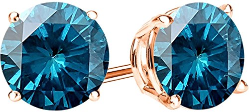 1/2 0.5 Carat Total Weight Blue Diamond Solitaire Stud Earrings Pair 14K Rose Gold Popular Premium Collection Push Back