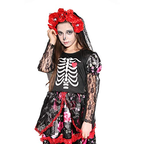Girls Skeleton Costume Kids Halloween Zombie Bride Fancy Dress Cosplay-Bride(7-9 Year) -