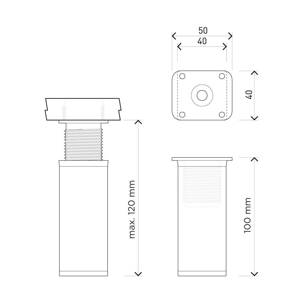 +20mm Patas para muebles Perfil cuadrado: 40 x 40 mm Dise/ño: Blanco   Tornillos incluidos Altura: 100mm Sossai MFV1-WH altura regulable 8 piezas