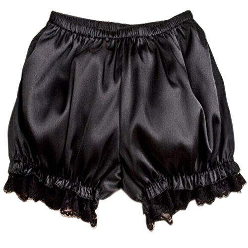 Patiky Womens Lolita Lace Pumpkin Pants Bloomers Shorts Cute Security Short Pants for Girl NK02 (Black)