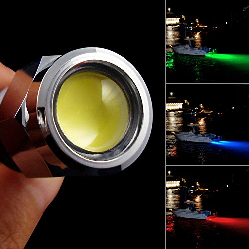 "AGPtEK Underwater 6 LED 1/2"" NPT 12V 9W Boat Drain Plug Light Marine Lighting with Waterproof Connector for Fishing Swimming Diving, Three Colors-Blue Red Green"