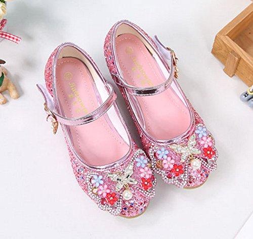 Vokamara Mädchen Schuhe mit Absatz Glitzer Mary Jane Pump Rosa