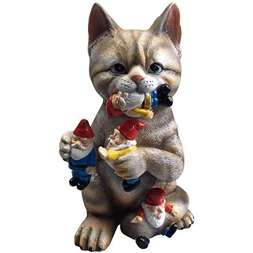 By Mark & Margot – Mischievous Cat Garden Gnome Statue Figurine – Best Art Décor for Indoor Outdoor Home Or Office