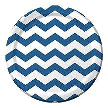 "Creative Converting Celebrations 96 Count Chevron Paper Dinner Plates, 8.75"", True Blue"