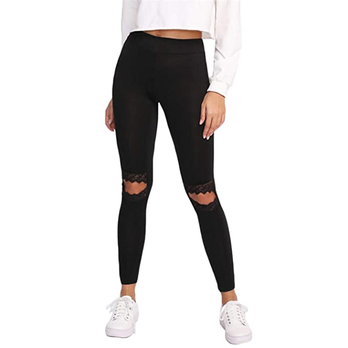 17537ca4b6044 VfMvxlFw Women's Fitness Embroidered Mesh Lace Fitness Leggings at ...