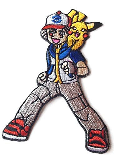 (Ash Ketchum and Pikachu Patch (3 Inch) Pokemon Go Embroidered Iron/Sew on Badge Applique Souvenir D.I.Y Costume)