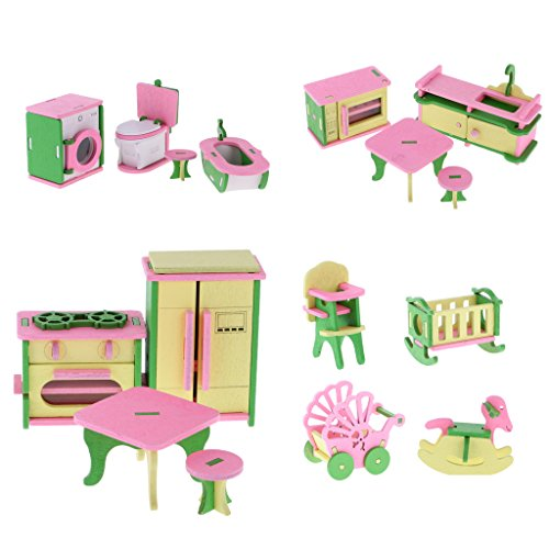 Gazechimp 4 Sets Ensemble de Meubles Miniatures en Bois Multicolore Décorations Accessoires pour Maison de Poupée Dollhouse
