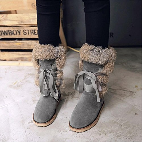 NVXIE Womens Knee High Snow Boots Leisure Comfortable Keep Warm Flat Thick bottom Non-slip Cross Straps Black Gray Brown Fall Winter Outdoor GRAY-EUR40UK7 cdviHx