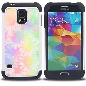 For Samsung Galaxy S5 I9600 G9009 G9008V - floral hippie green purple yellow daisy Dual Layer caso de Shell HUELGA Impacto pata de cabra con im????genes gr????ficas Steam - Funny Shop -