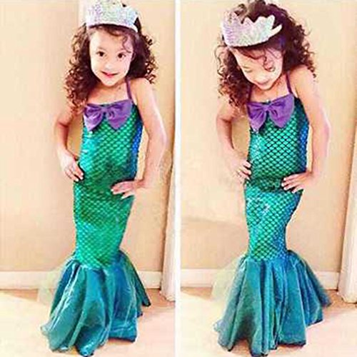 GUAngqi Girls Princess Ariel Little Mermaid Costume Cosplay Swim Clothing,M