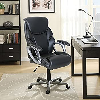 Amazon Com Serta Leather Manager S Office Chair Black