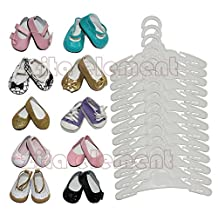 ZITA Element® Doll Accessory -LOT 15= 12 Hanger+3 Ramdon Shoes fit for 18 inch American's Girl Doll and other 18 inches Doll Clothes- White color - Safe new PP plastic material
