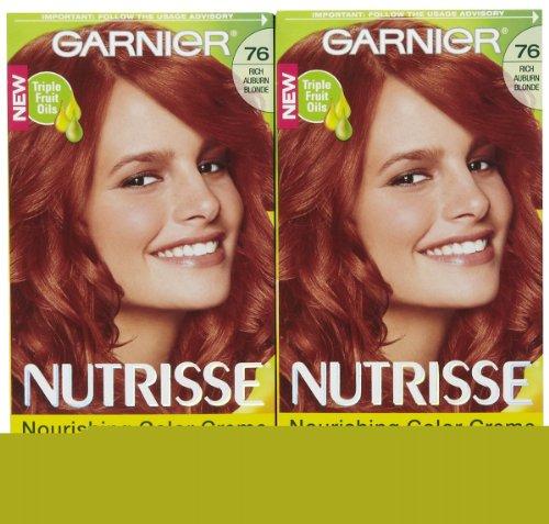 Garnier Nutrisse Niveau 3 Permanent Hair Creme, Rich Auburn Blond 76 (Hot Tamale), 2 pk