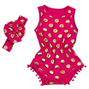 Messy Code Baby Romper Onesies Girls Clothes Gold Dot Jumpsuits Headband Outfit Sleeveless Boutique,Hot Pink,Medium / 12-18Month