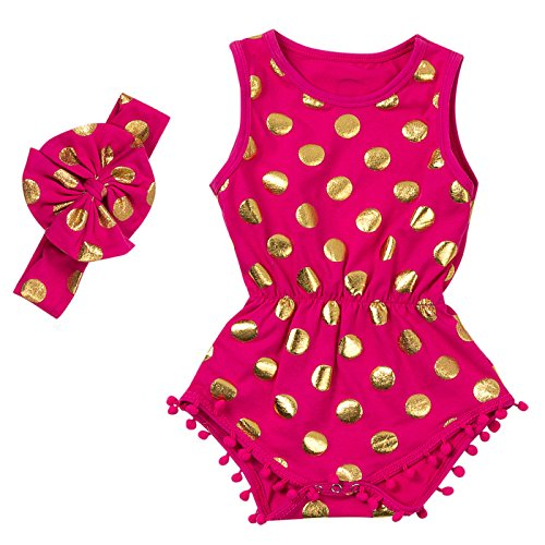 Messy Code Baby Romper Onesies Girls Clothes Gold Dot Jumpsuits Headband Outfit Sleeveless Boutique,Hot Pink,X-Small / 3-6Month