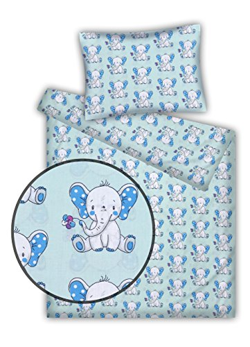 Kinderbettwäsche Elefanten 2-tlg. 100% Baumwolle 40x60 + 100x135 cm (blau-türkis)