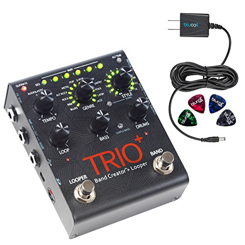 DigiTech TRIO Plus Looper/Band Creator Effects Pedal with USB Connection INCLUDES Blucoil Power Supply Slim AC/DC Adapter for 9 Volt DC 670mA AND 4 Guitar Picks