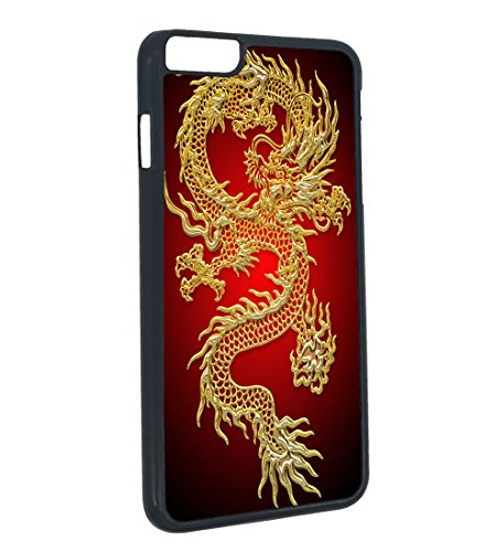 Golden Dragon iPhone 6 Plus Case Chinese King Long Design for iPhone 6 Plus Case(Black Hard Plastic) -
