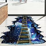 CYCTECH 3D Star Series Floor Wall Sticker Removable Self Adhesive Mural Decals Vinyl Art Room Decor (Bridge Galaxy)