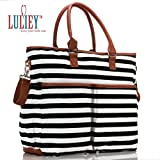 Premium Baby Diaper Tote Bag + Matching Changing Pad and Stroller Strap – 14 Spacious Pockets – Durable Canvas Material – Black and White Stripes with Tan Leather Trim – Lightweight - 14'' x 5'' x 15''