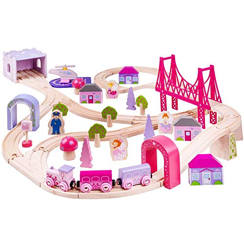 Bigjigs Rail Wooden Fairy Town Train Set - 75 Play -