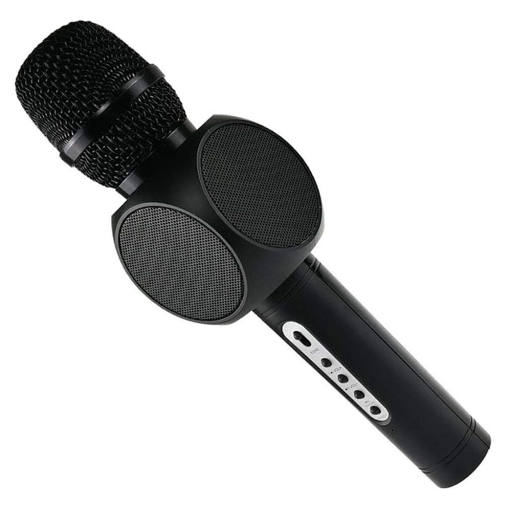 Wireless Microphone Condenser Karaoke Mic KTV Music Bluetooth Speaker Compatible with Android and iOS for Singging, Karaoke, Recording ( Color : Black )