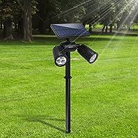 Lampade Solari da Giardino FKANT 2 in 1 Lampada Solare da Esterno con 6 LED luminosi, IP65 Impermeabile, Illuminazione Giardino Estremamente Flessibile con Pannello Solare ad Alta Efficienza (1 Pezzi)