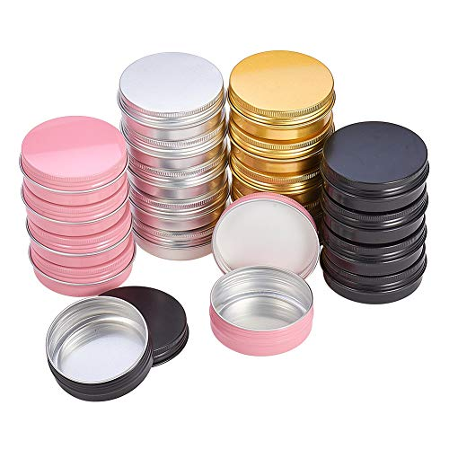 PH PandaHall 2oz 28 Pack Aluminum Tin Cans Round Metal Tin Container Screw Top Steel Tin Cans Cosmetic Sample Containers Candle Travel Tins(Silver, Black, Rose, Gold)
