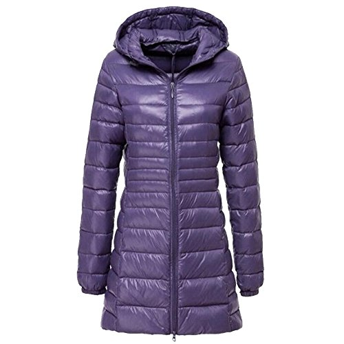 BOZEVON Women's Outerwear Down Jacket Long Lightweight Hooded Winter Coat 10 Color Available Purple