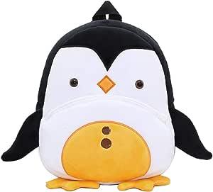Mochila para niños ZSWQ-Mochila de Dibujos Animados para Animales Infantil Linda Mochilas para Guardería Animales 3D Suave Mochila de Felpa para Bebe(pingüino)