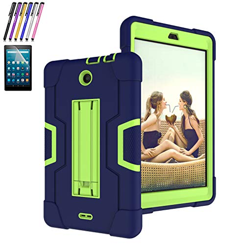 Mignova for Alcatel 3T(9027W) 8-inch Tablet 2018 Released,Heavy-Duty Drop-Proof and Shock-Resistant Rugged Hybrid case(with Built-in Stand)+Screen Protector and Stylus(Blue+Green)
