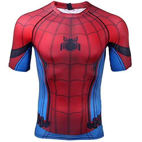 Civil War Short Sleeve Spiderman Compression Shirt 3D Print Mens Gym Top