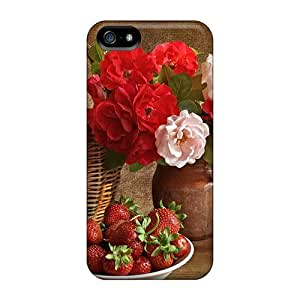 NadaAlarjane Iphone 5/5s Hybrid Tpu Case Cover Silicon Bumper Flowers Strawberries