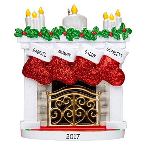 Personalized Christmas Mantle Family Ornament (Family of 4)