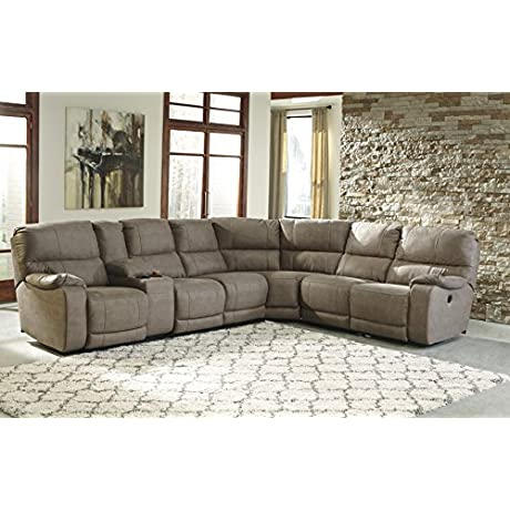 Bohannon Contemporary Taupe Color Fabric Sectional Sofa
