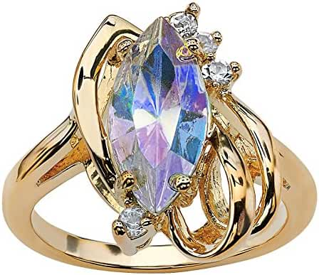 Marquise-Cut Aurora Borealis Crystal 14k Gold-Plated Cocktail Ring