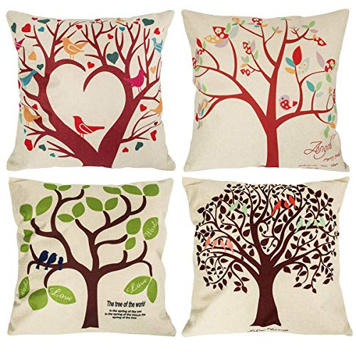 NYKKOLA Soild Linen Tree Theme Throw Pillow Covers Set of 4,