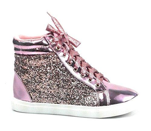 Link Vetersluiting Rock Glitter Fashion Sneaker Verborgen Hak Voor Kinderen / Meisje / Kinderen Peggy44k Roze Sparkle 25