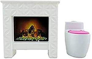 Barbie Replacement Parts Dream-House FHY73 - Includes 1 Doll Size Fireplace / Bookcase and 1 Electronic Sound Flushing Toilet