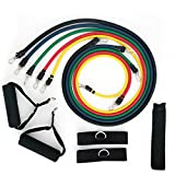 Sag Colletion Resistance Band Set - Include 5 Stackable Exercise Bands with Waterproof Carrying Case, Door Anchor Attachment, Legs Ankle Straps and Exercise Guide - 100% Life Time Guarantee