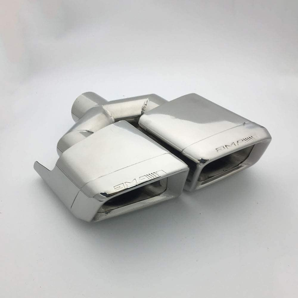 adapt/é pour Mercedes-Benz Classe W204 // C // W212 // E//AMG // C63 // E63 Super-ZS 2 /× Silencieux de Tuyau d/échappement modifi/é par Voiture Bouche carr/ée en Y /à Double Embout carr/é argent/é