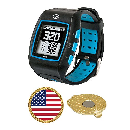 GolfBuddy WT5 Golf GPS/Rangefinder Watch (40k+ Preloaded Worldwide Courses) Bundle with Magnetic Hat Clip Ball Marker (USA Flag) by AMBA7