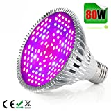 80W LED Grow Light Bulb,Alimu Grow lamp for Indoor Plants, Plant Lights Bulb for Indoor Garden Greenhouse and Hydroponic Plants Full Spectrum (E27 120leds)
