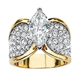 Palm Beach Jewelry Marquise-Cut Cubic Zirconia and Crystal 14k Gold-Plated Cocktail Ring