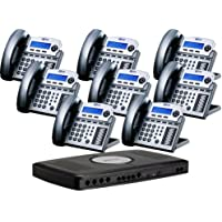 X16 6-Line Small Office Phone System with 8 Titanium Metallic X16 Telephones - Auto Attendant, Voicemail, Caller ID, Paging & Intercom
