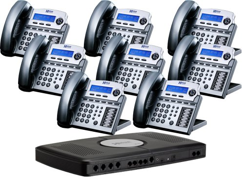 X16 6-Line Small Office Phone System with 8 Titanium Metallic X16 Telephones - Auto Attendant, Voicemail, Caller ID, Paging & Intercom - Paging System For Office